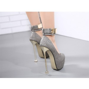 Women's Grey Ankle Strap Almond Toe Super Stiletto Heel Stripper Heels