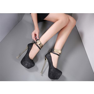 Women's Black Ankle Strap Almond Toe Super Stiletto Heel Stripper Heels
