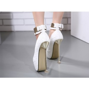 Women's White Ankle Strap Almond Toe Super Stiletto Heel Stripper Heels