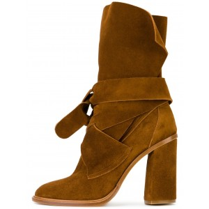 Tan Boots Suede Fashion Chunky Heel Mid Calf Boots
