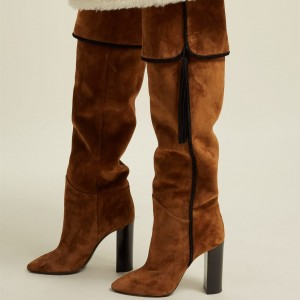 Tan Chunky Heel Boots Knee-high Boots