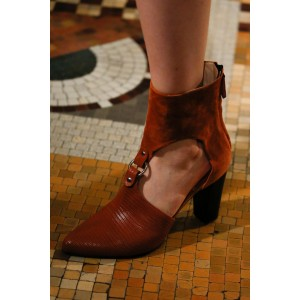 Tan Cut Out Boots Pointy Toe Fashion Chunky Heel Ankle Boots