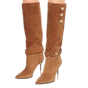 Tan Fall Boots Suede Calf Length Stiletto Heel Fashion Boots