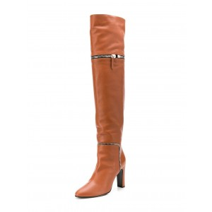 Tan Fashion Zip Long Boots Chunky Heel Boots Over-the-Knee Boots
