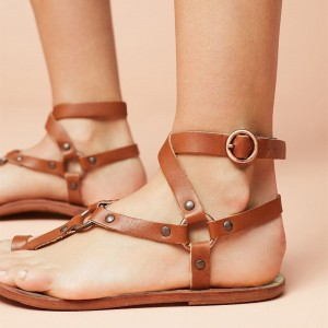 Brown Greek Sandals Flats Studs Gladiator Sandals