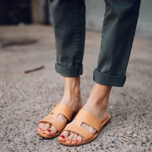 Tan Flat Women's Slide Sandals