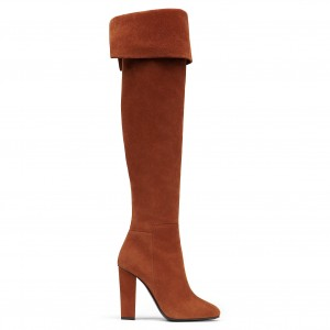 Tan Foldover Suede Chunky Heel Boots Over-the-Knee Long Boots