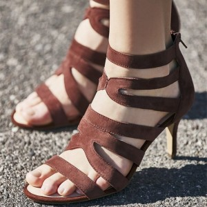 Tan Heels Open Toe Ankle Strap Stiletto Heels Sandals for Women