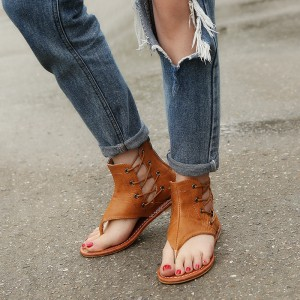 Tan Lace Up Flat Sandals for Women