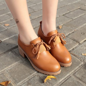 Tan Lace-up Women's Oxfords Round Toe Block Heels Vintage Shoes