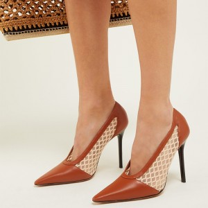 Tan Mesh Stiletto Heels Pumps