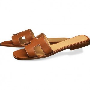 Tan Women's Slide Sandals Open Toe Vintage Summer Flat Slides Shoes