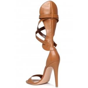 Tan Open Toe Strappy Buckles Stiletto Heels Sandals