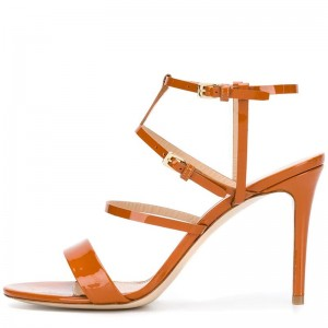 Tan Patent Leather Stiletto Heel Ankle Strap Sandals