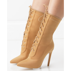 Tan Pointy Toe Stiletto Boots Lace up Ankle Booties for Women