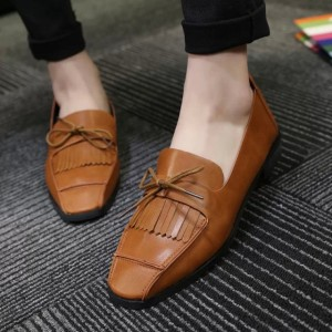 Tan Square Toe Vintage Flats Fringe Loafers for Women US Size 3-15