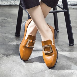 Tan Square Toe Flat Vintage Loafers for Women US Size 3-15