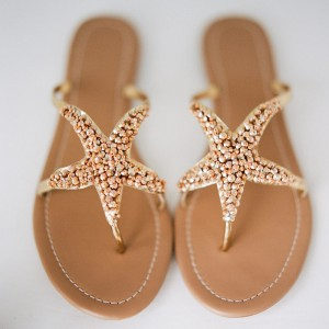 Tan Starfish Slide Sandals