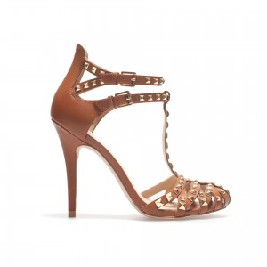 Tan Rivets T Strap Sandals Stiletto High Heel Shoes