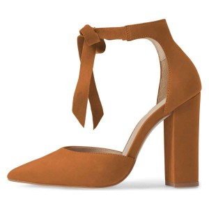 Tan Suede Ankle Strap Heels Bow Pointy Toe Chunky Heel Pumps
