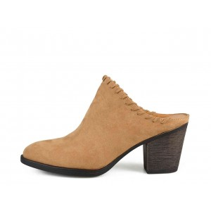 Women's Tan Suede Block Heel Mule