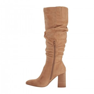 Tan Suede Chunky Heel Long Boots Knee High Boots