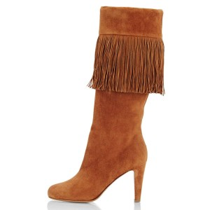 Tan Suede Fringe Chunky Heel Boots Knee-high Boots
