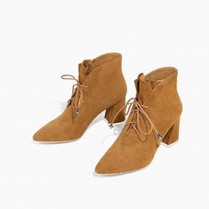 Ginger Suede Lace up Boots Pointy Toe Block Heel Ankle Booties