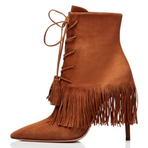 Tan Suede Lace Up Fringe Boots Stiletto Heel Ankle Boots