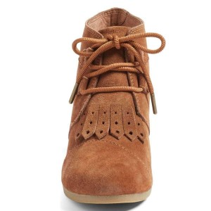 Tan Suede Lace up Wedge Booties