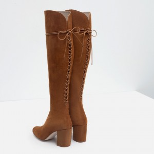 Tan Suede Long Boots Back Lace up Chunky Heel Knee High Boots