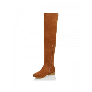 Tan Suede Long Boots Flat Knee High Boots