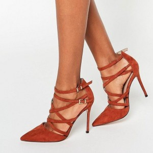 Tan Suede Pointy Toe Strappy Buckle Stiletto Heels Pumps