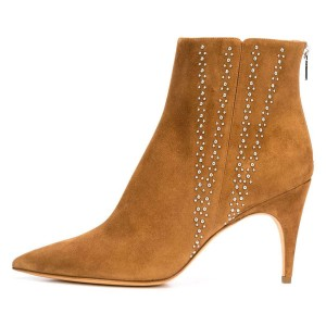 Tan Suede Stud Pointy Toe Stiletto Heel Ankle Booties