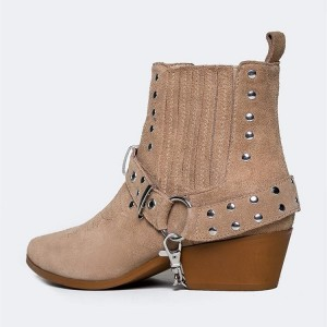 Tan Suede Studs Buckle Block Heel Ankle Booties