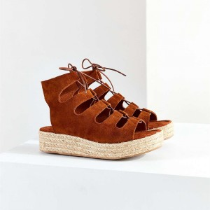 Tan Sandals Suede Open Toe Lace up Vintage Platform Shoes
