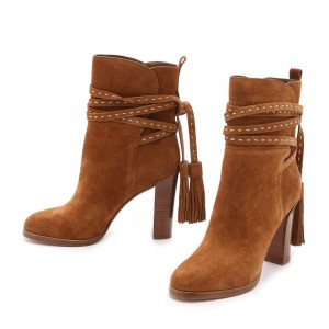 Tan Boots Suede Tassels Chunky Heels for Women