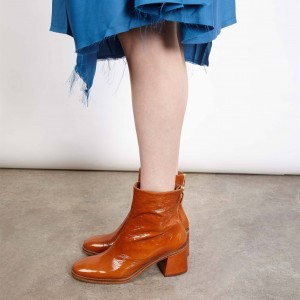 Tan Textured Vegan Leather Chunky Heel Boots Round Toe Ankle Boots