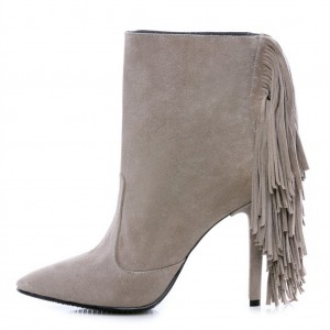 Taupe Stiletto Boots Suede Fringe Ankle Boots for Women