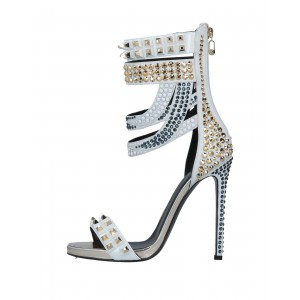Taupe Studs Gladiator Heels Stiletto Heel Sandals