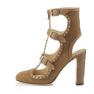 Taupe Suede Buckles Slingback Chunky Heel Summer boots