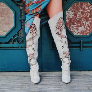 Taupe Suede Chunky Heel Boots Hollow Out Over the Knee Boots