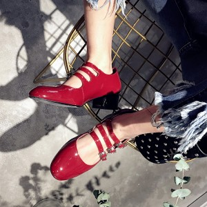 Red Mary Jane Pumps Patent Leather Chunky Heels Vintage Shoes