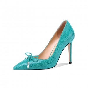 Turquoise Stone Pattern Stiletto Heels Pointy Toe Pumps