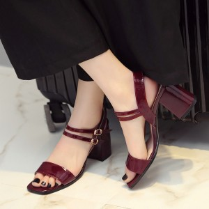 Burgundy Heels Patent Leather Square Toe Block Heel Sandals