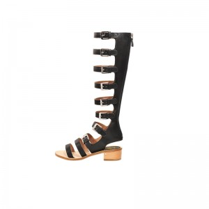 Women's Black Buckle Chunky Heel Gladiator Sandals