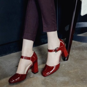 Burgundy Patent Leather Vintage Heels Square Toe Block Heel Pumps
