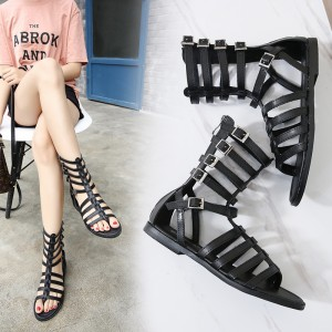 Women's Black Buckle Flat Gladiator Sandals