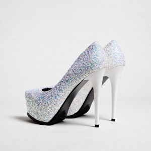 White Bridal Heels Sparkly Platform Pumps for Wedding