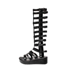 Black Gladiator Sandals Hollow out Knee-high Boots Platform Shoes
